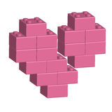 Building bricks in 3D broken heart. Vector Stock Images
