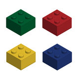 Building bricks in 3D isolated set. Vector Stock Images