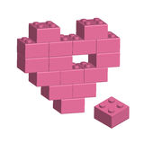 Building bricks in 3D missing part of heart. Vector Stock Photo