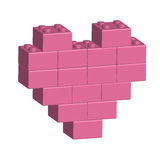 Building bricks in 3D pink heart. Vector Royalty Free Stock Image
