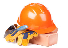 Building bricks, hard hat, trowel and gloves Stock Photography