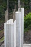 Building bridge construction. Building reinforced concrete bridge with highway royalty free stock photos