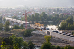 Building a bridge in Trencin, Slovakia. Seen from above, a concrete bridge over the river Vah is being built in Trencin, Slovakia Royalty Free Stock Photos