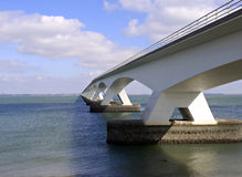 Building bridges. Detail of the Zeeland bridge, the longest bridge of the Netherlands with a length of 5022 mtr Stock Photo
