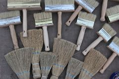 building brushes waiting for the master royalty free stock photo