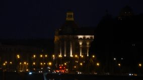 Building in Budapest by night stock footage