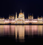 The building of the Budapest Parlament at night from the Buda co Stock Photo