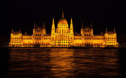 Building of Budapest parliament with nighttime illumination Stock Images