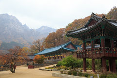 The building of Buddhist Sinheungsa Temple in Seoraksan National Stock Photos