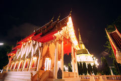 The building of buddhist temple at night. Phuket, Thailand stock photo