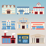 Building. S icon set. Vector illustration in flat style Stock Photos