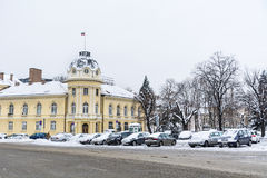 The building of the Bulgarian Academy of Sciences in the winter Royalty Free Stock Photography