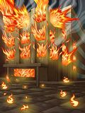 The building is burning. stock illustration