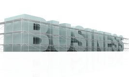 Building business. Isolated 3d business word being built under construction with scaffold around it Vector Illustration