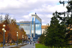 The building of business center Gazoil-Plaza in Tyumen in the fa Stock Images