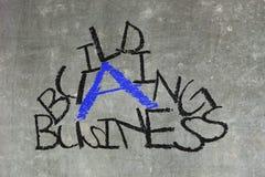 Building a business written on a chalkboard Stock Image
