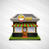 Building cafe open storefronts and bright awning Stock Image