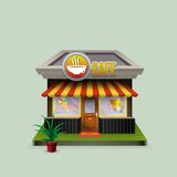 Building cafe open storefronts and bright awning Royalty Free Stock Photos