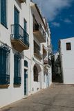 Building in calella de palafrugell, spain. Typical white and blue architecture in calella de palafrugell, costa brava, spain stock images