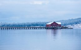 Building on a calm lake. stock photography