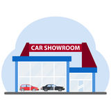The building of a car showroom. Flat design,  illustration Stock Photo