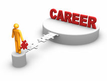 Building Career. 3D rendered stick figure : Building Career Royalty Free Stock Image