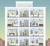 Building with cartoon business people working in office workspace Stock Photos
