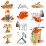 Building cartoon heroes icon Royalty Free Stock Image