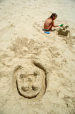Building castle in the sand royalty free stock photo