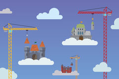 Building castles in the sky vector illustration Stock Photography