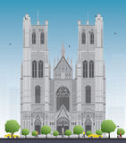Building of the Cathedral of St Michael and St Gudula in the cen. Tall building of the Cathedral of St Michael and St Gudula in the center of Brussels, Belgium Stock Image