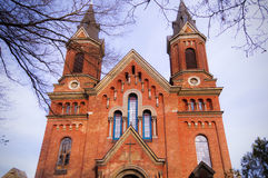 The building of the Catholic Church of red brick Royalty Free Stock Images