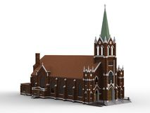 The building of the Catholic church, views from different sides. Three-dimensional illustration on a white background. 3d renderin Stock Photography