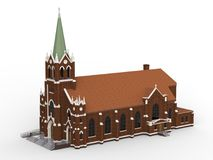 The building of the Catholic church, views from different sides. Three-dimensional illustration on a white background. 3d renderin Stock Photos
