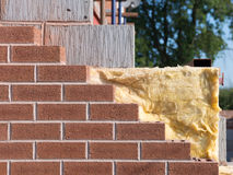 Building with cavity wall insulation. Wall under construction with cavity wall insulation Stock Image