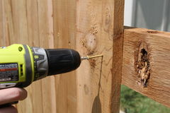Building a cedar fence. Drilling a screw in a fence picket Stock Photos
