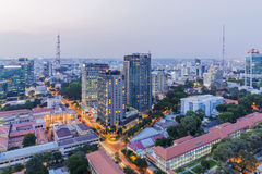 Building at center city in sunset. Ho Chi Minh city. Ho Chi Minh City has the most dynamic economy in Vietnam Stock Photography