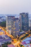 Building at center city in sunset. Ho Chi Minh city. Ho Chi Minh City has the most dynamic economy in Vietnam Stock Image