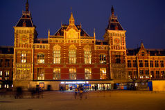 Amsterdam. The Central railway station. The building of the Central railway station in Amsterdam ясляется one of the main attractions of this city Stock Photo