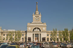 Building of the Central railway station of Volgograd stock photo