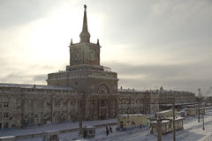 Building of the Central railway station Volgograd-1 in winter . Stock Photo