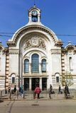 Building of Central Sofia Market Hall - Architecture from the beginning of the twentieth century in Sofia. SOFIA, BULGARIA - APRIL 13, 2018: Building of Central royalty free stock photo