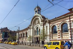 Building of Central Sofia Market Hall - Architecture from the beginning of the twentieth century in Sofia. SOFIA, BULGARIA - APRIL 13, 2018: Building of Central royalty free stock photography
