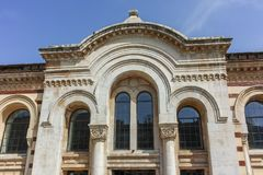 Building of Central Sofia Market Hall - Architecture from the beginning of the twentieth century in Sofia. SOFIA, BULGARIA - APRIL 13, 2018: Building of Central stock photo