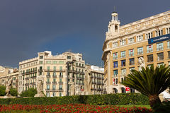 Building in centre of Barcelona. Royalty Free Stock Images