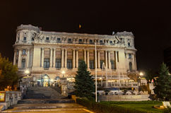 The building `Cercul Militar National` from Bucharest, Romania, night time. Royalty Free Stock Photo