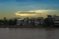 Building on Chao Phraya river in bangkok Stock Photo