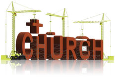 Building a christian church religion trust. Building a church or cathedral catholic or christian to express your religion and pray to god enhance your faith and vector illustration