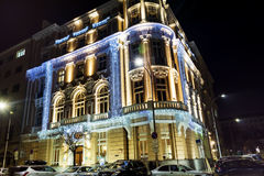 Building with Christmas decoration in Sofia,Bulgaria Royalty Free Stock Image