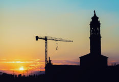 Building church. During sunset, view of the church in restructuring Royalty Free Stock Photography